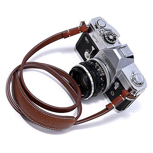 canpis Leder Kamera Schultergurt Tragegurt mit Schulterpolster, verlängert Umhängeband für Canon, Nikon, Sony, Pentax, Fujifilm, Samsung etc. (braun) (Leder Gurt Strap Pad)