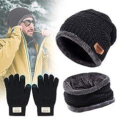 Idea Regalo - TedGem Cappello Uomo Invernali in Maglia con Sciarpa, Berretto Uomo in Maglia per Inverno Caldo Cappello Beanie con Sciarpa (3 Pezzi)