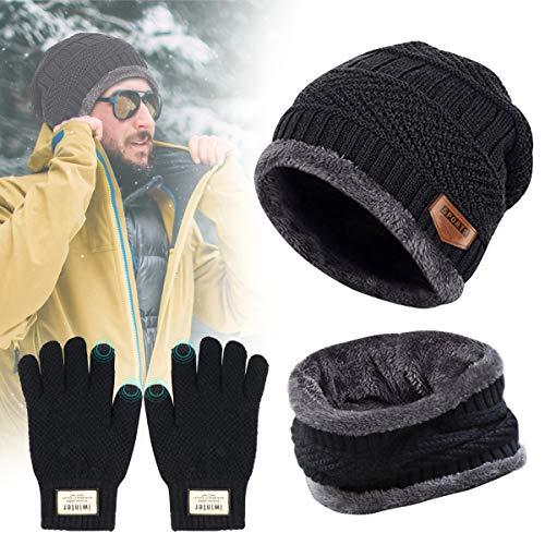 bacce6b162606c Tedgem Herren Wintermütze, Schal Set Herren Mütze Schal Set Winter Hat  Schlauchschal Handschuhe Warm Set
