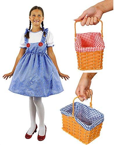 ILOVEFANCYDRESS Dorothy KOSTÜM VERKLEIDUNG MÄDCHEN Kansas=NUR DAS Kleid ODER DAS Kleid+Korb MIT ROTEM ODER BLAUEN KARIERTEM Stoff= Kleid IN DER GRÖSSE -SMALL