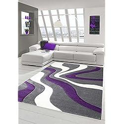 Salon Designer Tapis Contemporain Tapis Moquette Wave de Coupe de Contour Motif Violet Gris Blanc Größe 120x170 cm