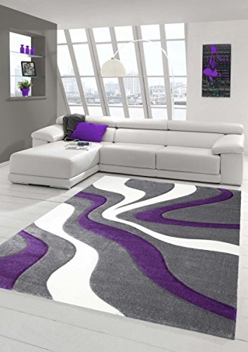 Designer Teppich Moderner Teppich Wohnzimmer Teppich Kurzflor Teppich mit Konturenschnitt Wellenmuster Lila Grau Weiss Größe 160x230 cm