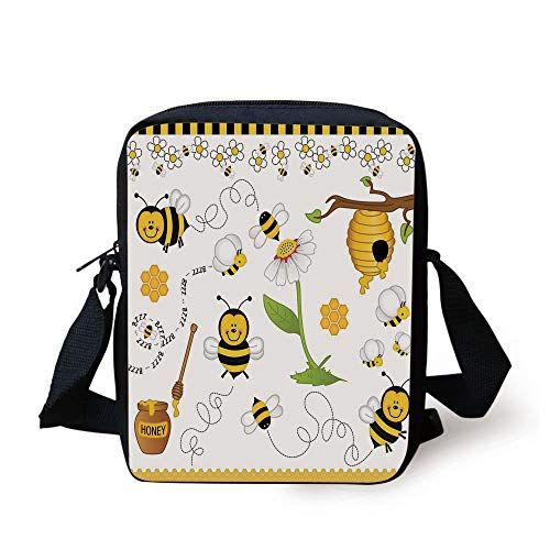 Collage Decor,Flying Bees Daisy Honey Chamomile Flowers Pollen Spring Animal Print,Yellow White Black Print Kids Crossbody Messenger Bag Purse -