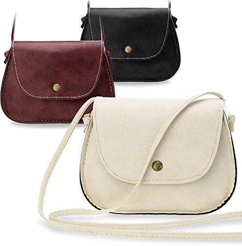 144e1637c6 kleine Damentasche Messengertasche Umhängetasche City - Tasche (schwarz)  creme ...