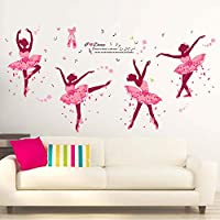 iwallsticker DIY Creative Dancing Girl Wall Stickers for Bedroom Living Room Bathroom Home Decoration Study Room Nursery School