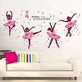 iwallsticker DIY Creative Dancing Girl Wand Aufkleber für Schlafzimmer Wohnzimmer Badezimmer Home Dekoration Study Room Kindergarten, PVC, Pink Ballerina Girl Wall Sticker, 19*27'