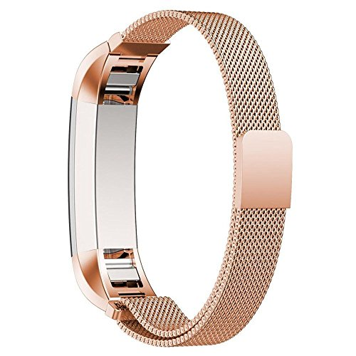 PUGO TOP Bänder for Fitbit Alta, Milanaise magnetisch Loop Edelstahl Armband für Fitbit Alta Smart Watch (Rose Gold)