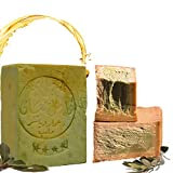 Aleppo sapone 80% olio d'oliva, 20% olio di alloro, ca. 200 g di sapone all'olio d'oliva originale PH valore 8, sapone per capelli, sapone per doccia, proprietà Detox, vegane, tagliato a mano
