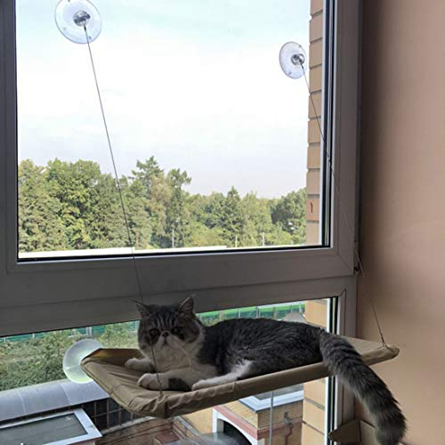 Goodbox Katzen Fensterplätze Hängematte, Katzen Fensterplatz Window Lounger, Katze Fenster Bett, Katze Hängematte Bett, Hängematte Fenster Katzenbett mit 4 großen Saugnäpfen (beige)