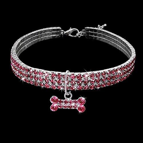 GEZICHTA Strass Hundehalsband, Mode Bling Strass Hundehalsband für Kleine Oder Mittlere Pet Halsband Halskette mit Knochenform Anhänger