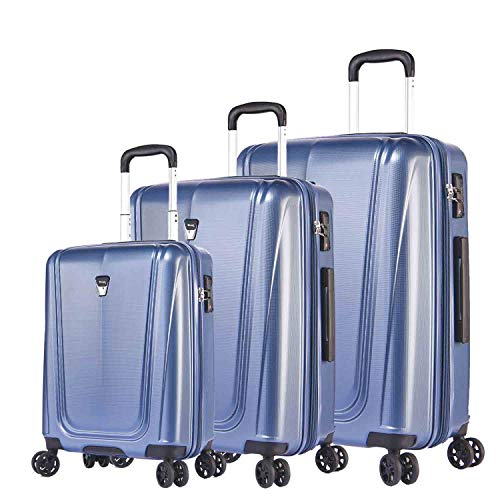 Verage 3er Hartschale-Koffer-Set Shield stabile 4 Doppelrollen TSA Schloss erweiterbar, Reisekoffer Kofferset 3 teilig SML (55cm, 65cm, 74cm) Blau