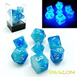 Bescon Gemini Glowing Polyhedral dice 7PCS set Icy Rocks, luminoso Rpg dice set D4D6D8D10D12D20D%, Brick box Packaging
