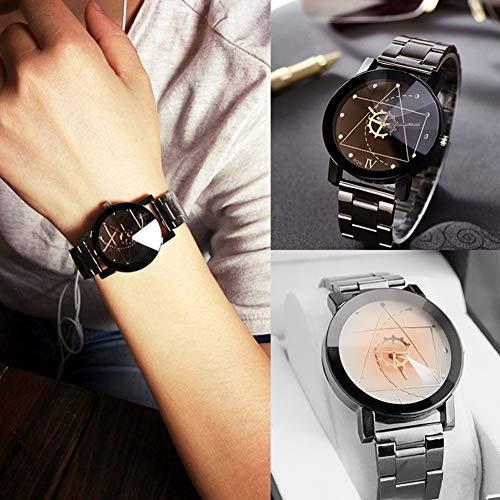 Homeofying Männer Frauen Liebhaber Armbanduhr Edelstahl Band Uhr Zeiger quarzuhr für Frauen männer Schwarz Frau