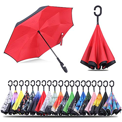 6e105aa1a8b9 Inverted Umbrella Windproof Double Layer Folding Reverse Umbrella for Women  Huge Umbrella for Men (Red)