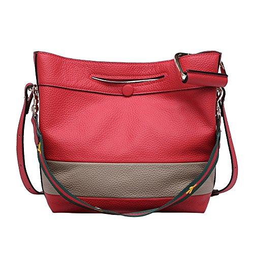 Mena Uk Sacchetto di spalla del messaggero portatile borsa in pelle morbida da donna Rosso