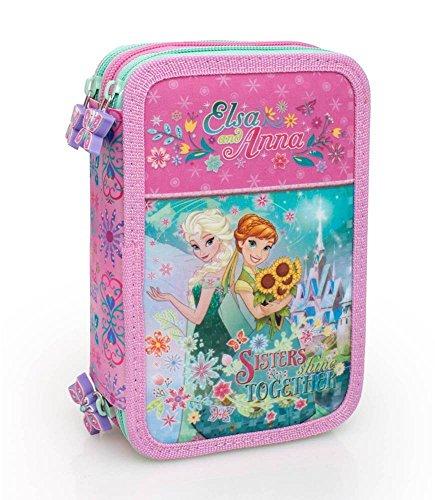 Disney Frozen 55224 Estuche 3 Bisagras, Plumier Triple, Crayones, Marcadores, 44 Piezas, Anna, Elsa