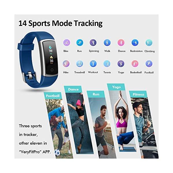 Lintelek Pulsera Actividad Impermeable, Reloj Inteligente con Pulsómetro y Tensiómetro, Reloj Deportivo con GPS Compatible a Android y iPhone 4