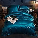 Reversible, 100% Baumwolle Waschen Seide Bettwäsche bettbezug Set, Volltonfarbe Stickerei, Nackt schlafen, Reißverschluss-Königsblau 220x240cm