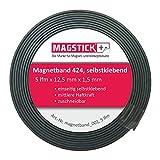 Nastro adesivo magnetico Magstick® 424, 12,5mm di larghezza, 1,5mm di spessore. Per materiale di presentazione, fotografie, scaffali, cartelli, display, decorazioni a scuola, in ufficio, a casa, in magazzino, in fiera