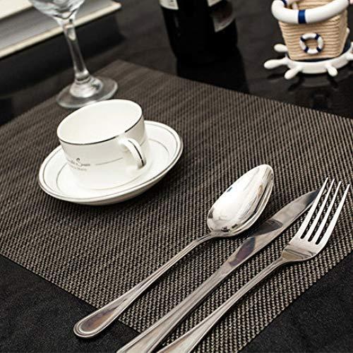WJ PVC-Tischset einfarbig rutschfest hitzebeständig Tischset wasserdicht (2er-Pack) schwarz 45 * 30cm -