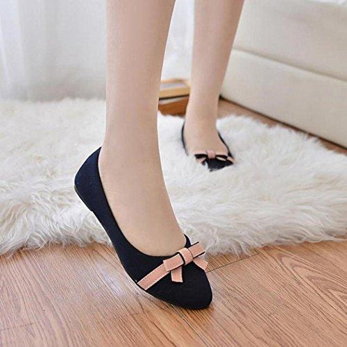 Koly_Donna Primavera bowknot singolo scarpe basse tempo libero Dolce Tesoro Studenti Shoes Blu
