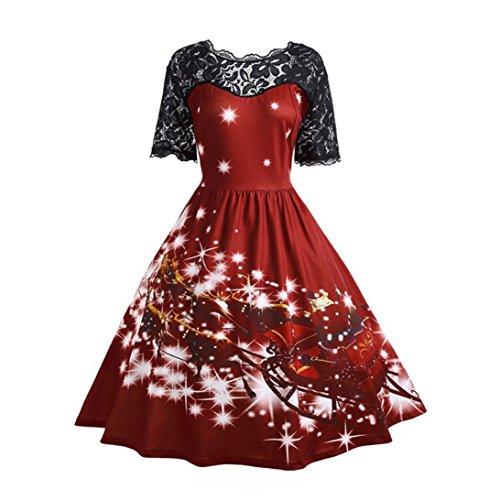 BYSTE Donna Abito di Natale Vestito stampato Retro Cuciture di pizzo Vestito da festa Vino rosso