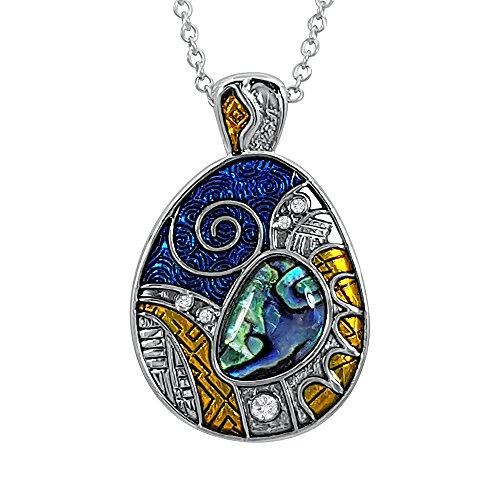 Kiara joyas azteca Guerra escudo símbolo colgante collar incrustados con verde azulado Paua Abalone Shell, colorido esmalte y piedras de cristal de 45 cm cadena de rastro. Chapado en rodio