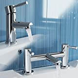 iBathUK | Modern Chrome Basin Sink Mixer Tap + Bath Filler Bathroom Faucet Set TP2015
