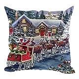 Santa Claus Geschenk Kissenbezug Freizeit Sofakissen KissenbezüGe, 45Cm*45Cm Baumwolle Leinen Weihnachten Deko Cartoon Kinderkissen Weihnachtsmann Festival KissenhüLle