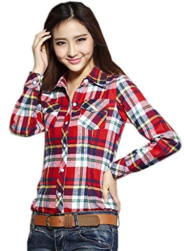 Smile YKK Chemisier Blouse Femme Col Chemise Coton Tops à Manches Longues Carreaux Chic Rouge Jaune