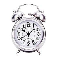 Uniquebella Réveil matin, Lumineux et Silencieux, Rond Diamètre 3.15 pouces (8cm) à Double cloches- Argenté