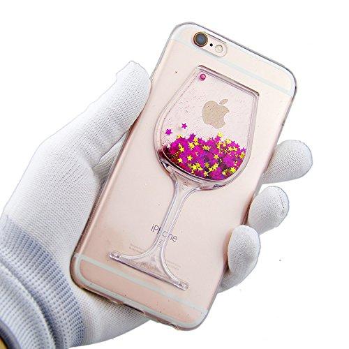 Custodia in silicone per iPhone 6/6S, colore: trasparente, iPhone 6S/6Custodia Sottile, trasparente vino vetro design dinamico Quicksand Liquid Fluente Liquido Galleggiante Stars cover BRILLANTINI GL Pink