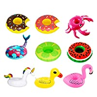 DDG EDMMS Inflatable Drink Holder 9 Piece Set Swimming Pool Cup Holder Unicorn Flamingo Donut Floating Summer Pool Party Water Fun