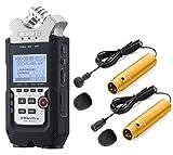 Zoom H4N Pro a canali registratore portatile Bundle con Movo Pro grade omnidirezionale e cardioide XLR Lavalier microfoni