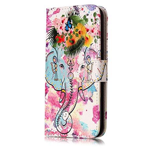 Coque J3 (2016) Anfire Attrape Reve Motif Peint Mode Coque PU Cuir pour Galaxy J3 (2016) Etui Case Protection Portefeuille Rabat Étui Coque Housse pour Samsung Galaxy J3 (2016) (5.0 pouces) Luxe Style éléphant