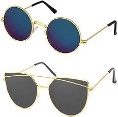 Elligator Unisex Combo Of 2 Sunglasses(Round-Blue_Dior-Blk)