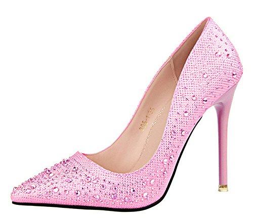 Minetom Mujer Primavera Dulce Boda Zapatos de Tacón Elegante Brillante Rhinestone Zapatos Tacón Alto Zapatos Pumps Stiletto Rosa EU 34