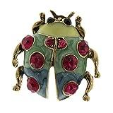 MagiDeal Vintage Blume/Vögel/Flamingo/Insekt/Erbse Stil Strass Brosche Pin Ansteckernadel Sicherheitsnadel Modeschmuck - Roter Diamant-Marienkäfer