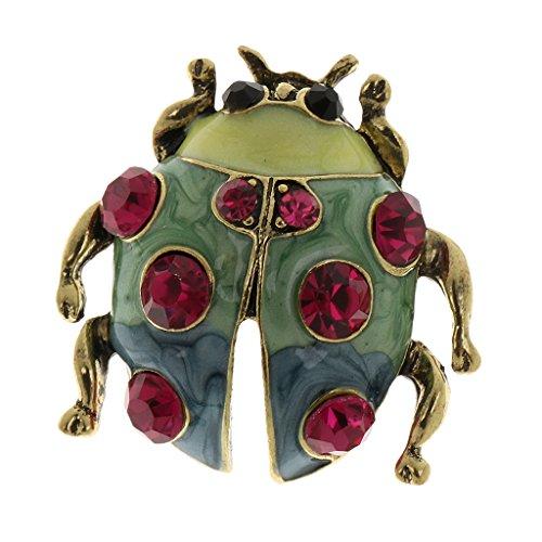 me/Vögel/Flamingo/Insekt/Erbse Stil Strass Brosche Pin Ansteckernadel Sicherheitsnadel Modeschmuck - Roter Diamant-Marienkäfer ()