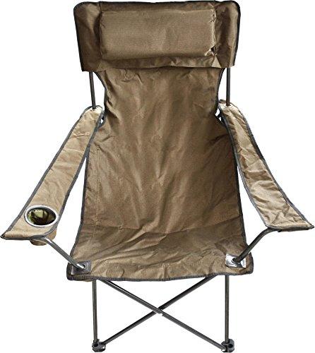Luxus Faltstuhl Klappstuhl mit Getränkehalter Polster und Armlehnen Farbe Khaki