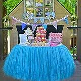 Tutu Tabella Gonna, Decorazioni Per Party Tutu Tulle Abito da Tavolo Adatto Per Festività di Festa di Compleanno Decorazione Decor Bambini e Bambine Preferite——Fiori di spago di carta gratuiti(blu)