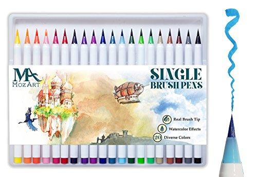 Manga Stifte (Pinselstift-Set – 20 Farben – weiche flexible Echtpinsel-Spitze, langlebig, Wasserfarben-Effekt, Aquarell – Ideal für Malbücher, Manga, Comic, Kalligrafie, duale Stärke, MozArt Supplies)