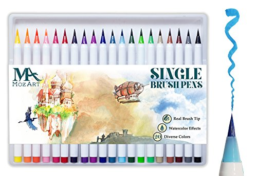 Pinselstift-Set – 20 Farben – weiche flexible Echtpinsel-Spitze, langlebig, Wasserfarben-Effekt, Aquarell – Ideal für Malbücher, Manga, Comic, Kalligrafie, duale Stärke, MozArt Supplies (Weiche Spitze Flexible)