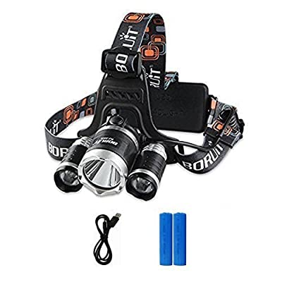 Boruit 6000lm 3*XM-L2 T6 LED Headlamp Portable Head Torch Light 4 Modes Waterproof Rechargeable Headlight Lamp for Outdoor Night Riding Fishing Hiking Camping from BORUiT
