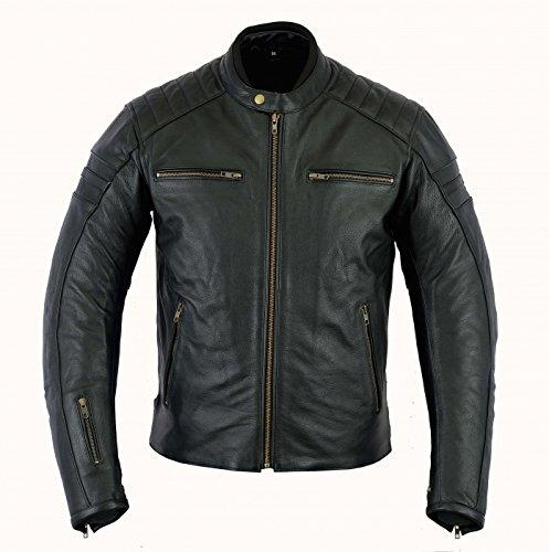 Herren Lederjacke, Motorrad Lederjacke Bikerjacke Rind Leder, (M-3XL) (XL)