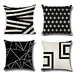 LTTING Nordische Minimalistische Geometrische Kissen Home Decoration Schwarz-Weiß Gestreiftes Muster Bürostuhl Kissen Sofakissen,Natural,45 * 45