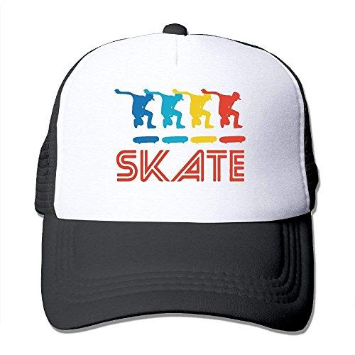Skater Retro Pop Art Skateboarding Graphic Skate Mesh Trucker Caps/Hats Adjustable for Unisex Black