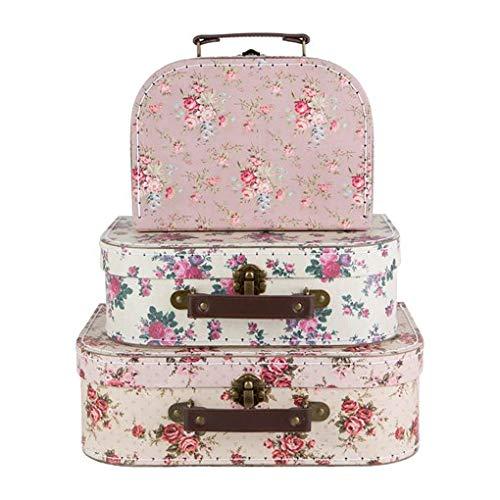 Sass & Belle Set di 3Valigie Come scatole Vintage Rosa