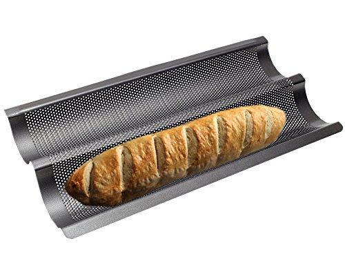 Baguetteblech Baguette Backblech Baguetteform Baguette-Backblech 2 Mulden mit Antihaftbeschichtung für Backen Schwarz