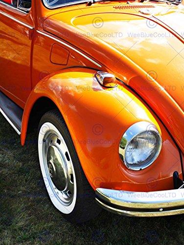 (Bumblebeaver PHOTOGRAPH VINTAGE CAR BUG BEETLE VW HEADLIGHT WHEEL ART PRINT POSTER FOTO Jahrgang Werbung Licht Kunstdruck)